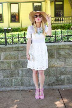 #BetterInADress // Lauren Vandifair in Kaitlyn Lace Fit & Flare Dress by #DonnaMorgan