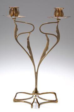 FRANZ RINGER Floriform brass candelabra, c. 1908, manufactured by the United Workshops for Handcrafted Art, Munich, 31.8cm H.  |  SOLD $4,230 Germany 2007