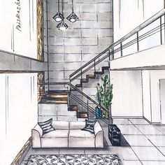 Marvelous Home Design Architectural Drawing Ideas. Spectacular Home Design Architectural Drawing Ideas. Interior Architecture Drawing, Drawing Interior, Interior Design Sketches, Sketch Design, Architecture Design, Architecture Career, Architecture Diagrams, Architecture Portfolio, Design Art