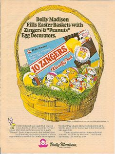 1980 Dolly Madison Peanuts Zingers Easter Ad