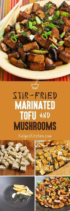 Stir-Fried Marinated Tofu and Mushrooms is a delicious dish that's meatless, low-carb, gluten-free, and it can be South Beach Diet friendly if you limit serving size. If you're not that experienced at stir-fry cooking, this post has excellent instructions and step-by-step photos. [found on http://KalynsKitchen.com]