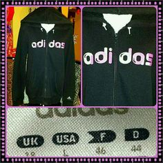 ADIDAS logo PINK BLACK sweatshirt HOODIE JACKET AWESOME ADIDAS pink and blk  ZIP HOODIE JACKET...its LADIES size-large and in EXCELLENT pre-luved condition Adidas Tops Sweatshirts & Hoodies