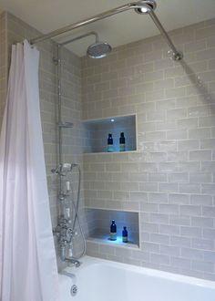Bathroom Shower Niche Ideas Unique Three Easy Remodeling Hacks to Make Your Small Bathroom Look Bigger Monet Floors Recessed Shower Shelf, Shower Room, Bathroom Mirror Storage, Bathroom Shelf Decor, Amazing Bathrooms, Shower Storage, Tile Shower Shelf, Shower Shelves, Bathroom Shower