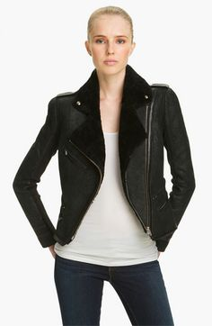 Veda 'Globe' Genuine Shearling Moto Jacket available at #Nordstrom