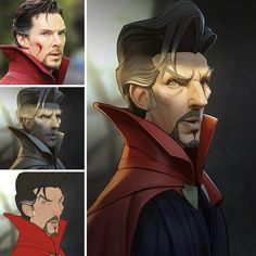 Manga Character Drawing - Xi Ding is an Austrian artist who specializes in caricature and face design. He uses Photoshop to turn his favourite superheroes and movie characters into Ms Marvel, Marvel Art, Captain Marvel, Marvel Comics, Cartoon Kunst, Cartoon Art, 3d Drawings, Cartoon Drawings, Movie Characters
