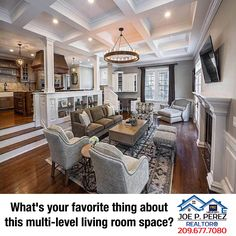 What's your favorite thing about this multi-level living room space? #PMZRealEstate #RealEstate #JoePerezRealtor® • 209.677.7080