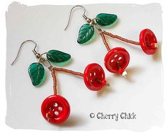 Cherry Button Earrings