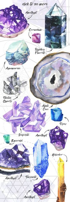 Watercolor space Gems - Illustrations - 2