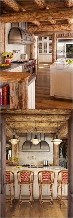 Beautiful log house kitchen interior https://www.quick-garden.co.uk/residential-log-cabins.html
