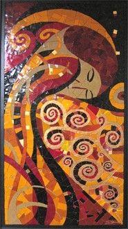 Hommage an Klimt by www.mozayiko.eu Workshop, Klimt, Burgundy, Creative, Holiday, Painting, Self, Atelier, France