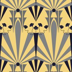 Golden Age of Art Deco fabric by vo_aka_virginiao on Spoonflower - custom… Art Deco Wallpaper, Old Wallpaper, Art Deco Fabric, Fabric Design, Art Nouveau, Textures Patterns, Print Patterns, Art Deco Pattern, Textiles