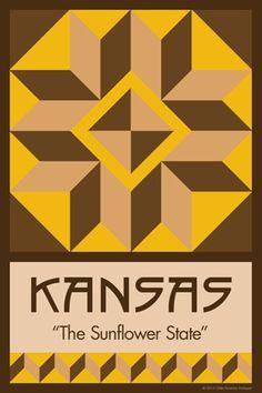 Olde America Antiques | Quilt Blocks | National Parks | Bozeman Montana : 50 STATE QUILT BLOCK SERIES - KANSAS