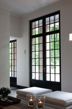 Interior french doors add a beautiful style and elegance to any room in your home. Black Windows, Windows And Doors, Black Doors, Big Doors, Tall Windows, Interior Architecture, Interior And Exterior, Modern Exterior, Interior Doors