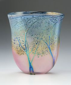 "Peet Robinson ~ ""Sunset Landscape Vase - Medium Ovoid"" Art Glass Vase"