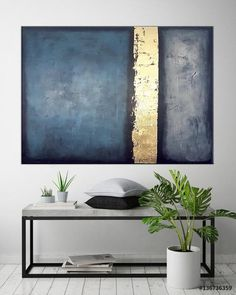 Large Abstract art Canvas Painting Blue Gold Minimalist Gold Leaf painting Office wall art Large Living room art Modern canvas art Blue art : Lart abstrait et grande toile peinture bleu or minimaliste Modern Canvas Art, Large Canvas Art, Large Wall Art, Modern Art Paintings, Wall Paintings, Blue Canvas Art, Large Abstract Wall Art, Gold Canvas, Classic Paintings