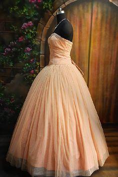 peach colored prom dress