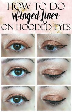 A quick, easy tutorial on How to Apply Winged Liner on Hooded Eyes. Get tips, tricks and a shopping list of products to make application easier!