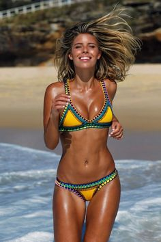 Shop the yellow crochet & neoprene bikini : http://www.haxx.fr/#!maillots-de-bain/cb2d