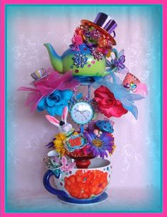 ALICE in Wonderland Stackable TEA CUP TOWER Centerpiece MAD HATTER Tea Party