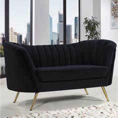 Lowest price online on Meridian Furniture Margo Black Velvet Chair - Formal Living Rooms, Living Room Sets, Sofa Furniture, Living Room Furniture, Furniture Ideas, Modern Furniture, Gold Sofa, Meridian Furniture, Tufted Sofa