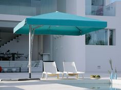 Aqua Umbrella with white edge trim. A summer standout! BELVEDERE cantilever umbrella by Caravita, Germany