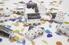 Look who's turning 80?  Party with these Happy 80th Birthday mini candy wrappers that you just peel and stick.