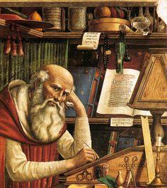 "spoutziki-art: "" Domenico Ghirlandaio - St Jerome in his Study, 1480 (detail) "" St Jerome, Medieval Paintings, Renaissance Paintings, Italian Renaissance, Renaissance Art, Fresco, Tableaux Vivants, Web Gallery Of Art, Medieval Furniture"