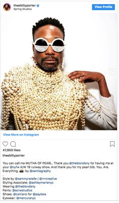 5d3b3bdb82bb Billy Porter wears Mercura NYC caviar pearl sunglasses theebillyporter s  profile picture theebillyporter Verified You can call