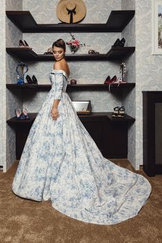 Lena Hoschek | Bleu Toile Couture Gown | Provence Collection