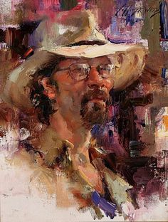 Watts, Jeffrey - Man with Hat #abstract, #design, #composition, #fineart, #artwork, #portrait, #figurative