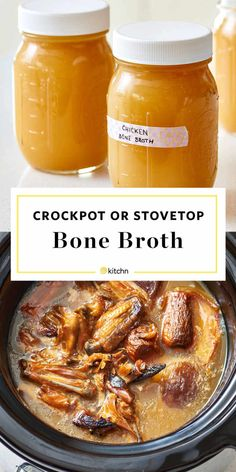 How to Make Easy, Homemade, Chicken Bone Broth at Home from Scratch. A Method for stovetop or your slow cooker or crockpot/crock pot. This Healthy comfort food broth is perfect in soups. You'll need chicken bones, Bone Broth Crockpot, Slow Cooker Bone Broth, Chicken Bone Broth Recipe, Make Chicken Broth, Bone Broth Soup, Making Bone Broth, Chicken Broth Recipes, Homemade Bone Broth, Slow Cooker Chicken