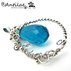 ANTILAE - Biżuteria autorska - Wisior, srebro, wire wrapping, kwarc niebieski