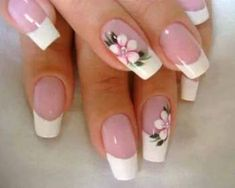 Flaunt the pink base and dazzling white tipped nails with the perfect French manicure. Go through the tips, procedure and striking French manicure ideas here. Flower Nail Designs, Pretty Nail Designs, Flower Nail Art, Toe Nail Designs, Beautiful Nail Art, Gorgeous Nails, Pretty Nails, French Manicure Nails, French Tip Nails