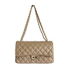 Designer Style Quilted Italian Beige Leather Handbag (Medium Size) - £74.99