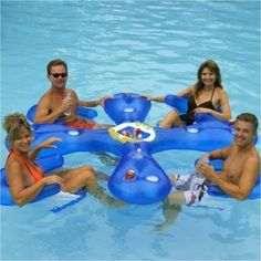 INFLATABLE LAKE RIVER FLOATING POOL ISLAND RAFT MAT WITH ICE CHEST W/ CUP HOLDER