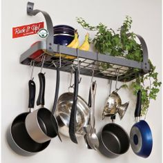 """Enclume MPB-06 RACK IT UP Bookshelf Pot Rack by Enclume. $74.99. Add decorative style; attractive """"hammered steel"""" powder coat finish; paintable to complement any decor. Fast, easy installation with exclusive """"Toggler"""" drywall anchors, install toggles directly in drywall; Hold hundreds of pounds. No more studs needed. Strong steel construction yet light weight (just 9 pounds); will hold over 100 pounds. Quality steel pot rack; store pots and utensils on the wall fo..."""