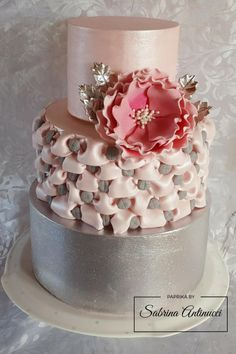 Silver wedding anniversary - Cake by Sabrina Antinucci Pretty Cakes, Beautiful Cakes, Amazing Cakes, Different Kinds Of Cakes, Bolo Cake, Wedding Cake Decorations, Wedding Cakes, New Cake, Specialty Cakes