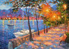 Blue Bay - € 320,- Paletmes olie op canvas schilderij van Dmitry Spiros. muur decor, home decor, klaproos schilderij, woonkamer decor kunst