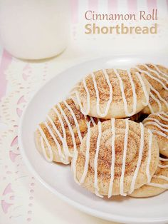 Cinnamon Roll Shortbread Cookies. These adorable little cookies are fun to make with kids.  They are soft cookies with cinnamon sugar on top and a vanilla buttercream drizzle.