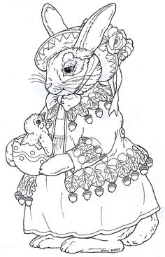 "Beatrix Bunny by Jan Brett, I like these traditional realistic bunnies. More versions on Jan Brett's page. Including a ""quartet"" singer looking one and one with a basket of flowers."
