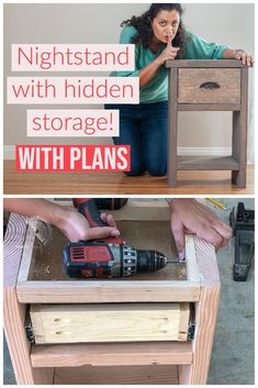 Beginner-friendly woodworking project - Learn how to make a simple nightstand with a hidden storage compartment. $anikasdiylife #woodworkingproject Kreg Jig Projects, Woodworking Projects That Sell, Diy Woodworking, Diy Projects Using Wood, Scrap Wood Projects, Colorful Furniture, Diy Furniture, Diy Nightstand, Homemade Tools