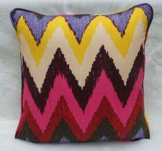 Schumacher Fabric ~ Cushion Cover ~ Adras Ikat Jewel Colourway, 100% Cotton