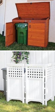 Shed DIY - Hide your unsightly trash cans behind lattice, or build/buy a storage shed for the cans (17 Easy and Cheap Curb Appeal Ideas Anyone Can Do) Now You Can Build ANY Shed In A Weekend Even If You've Zero Woodworking Experience!