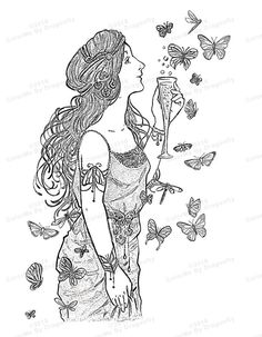 Girl Butterfly Art Fantasy Printable Lady And The S Clip Coloring Page Print Greyscale