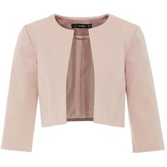 Hallhuber Rep crop blazer ($72) ❤ liked on Polyvore featuring outerwear, jackets, blazers, blazer, tops, beige, clearance, pink blazer, cropped blazer and pink straight jacket