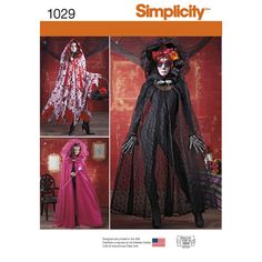 misses' cape costume in one size (fits most) with draped hoods features fairy style cape with sheer overlay, sheer day of the dead cape with removable flowers, & tiered cape with overlay. shirley botsford for simplicity.