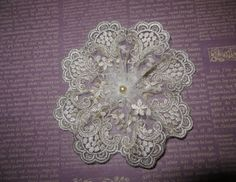 Handmade Gold Embroidered Tulle Lace Doily Head by ElegantDoily
