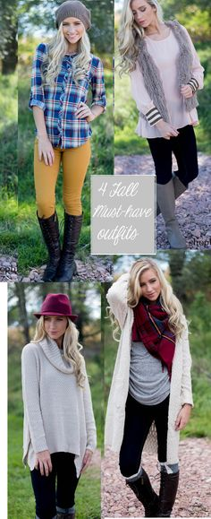 4 Fall Must-Have Outfits! From the mustard colored skinny jeans, to the blanket scarf . Oversized Sweaters & A vest is definitely a Fall piece you need to spice up your Fall Outfits. www.shopbhb.com  These outfits are also perfect for your Fall Family Photos. Great Outfit Ideas.