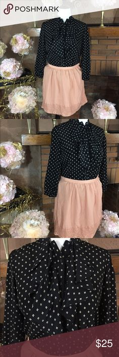 XXI skirt sz L and George ruffle shirt sz L XXI mauve skirt with side zipper. Sz L with a 32in waist. 19 in long. George button up blouse cream and black sz L. Please check out all pictures for best description of the items. Ask me any questions and happy shopping! XXI  Skirts Mini