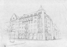 Haus zeichnen lernen -   Fassade Hauswand Schaufenster - Tutorial